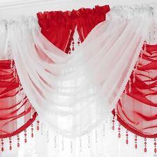 Ready Made Voile Swag X1 Drape Pelmet Curtain Crystal Beaded Trim Swags 56x45cm White
