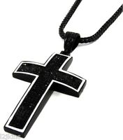 """Mens Black Iced Out Cross Pendant Hip-Hop 36"""" Inch Franco Necklace Chain K2"""