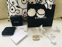 Authentic Chanel CC Logo Gold Crystals Brooch