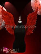 Rhinestone Crystal accented red feathered burlesque showgirls angelwing backpack