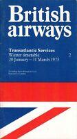 BRITISH AIRWAYS TRANSATLANTIC AIRLINE TIMETABLE WINTER 1975 NO.2 SEAT MAPS BA