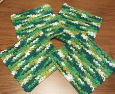 Set of 4 Thick Textured 100% Cotton Multi-Color Dish Wash Cloths