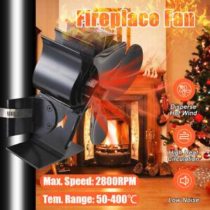 4 Blades Heat Powered Hanging Stove Fan Wood Log Burning Fireplace Fan Eco Xmas