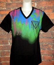 MENS GUESS V-NECK BLACK MULTICOLOR T-SHIRT SIZE S