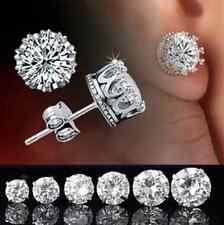 Fashion Men Women Crystal Crown Charm Earrings Silver Ear Studs Jewelry Gift CN