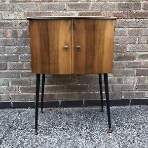 Retro vintage mid century record cabinet Vinyl Cupboard on tapered legs 50s