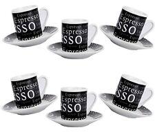 12 Tlg Espressotassen Kaffeetassen Schwarz Kaffeeservice Mokka Kaffee Geschirr