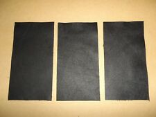 3 x Black Cowhide Leather Offcut Scrap Craft Panel Piece - 11CM X 21CM