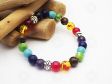 7 Chakra Glass Gemstone Bead Bracelet Reiki Meditation Yoga Love Healing Gift UK