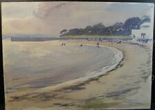 Frank Hubbard Watercolor Painting of a Beach Scene (signed)