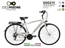 BICICLETTA BICI CITY BIKE TREKKING 28 UOMO 21V TELAIO ALLUMINIO EGO21V 100%ITALY