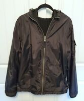 NAUTICA Mens Sz M BLACK Hooded Nylon Full Zip Jacket REVERSES to Sweater Jacket