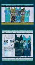 "Feline Frolic, Laurel Burch, Dark Teal Pillow Panel 24"" x 44"", Fabric, P0002"