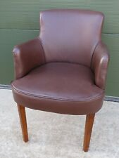 Vintage Art Deco Leather-Upholstered Tub Carver Desk Chair Armchair