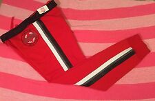 Victoria's Secret Pink Perforated Stripe Faux Leather Gym Pants Medium NWT