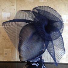 Navy dark blue fascinator millinery burlesque wedding hat hair ascot race bridal