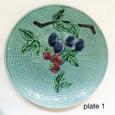 Majolica Schmider Zell Plum Berry Plate Basketweave Turquoise Western Germany