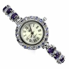 Unheated Round Amethyst Tanzanite White Gold Plate 925 Sterling Silver Watch 7.5