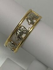 Elephant Bangle Bracelet Gold and Silver in Color Unsigned Opens