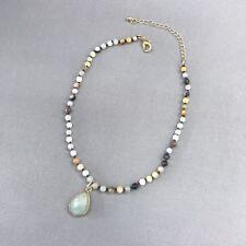 Trendy Unique Style Natural Bead Choker Single Mint Stone Dangle Charm Necklace