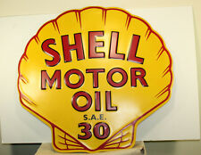 SHELL MOTOR OIL Embossed Metal Large 22''x23 Signs Gas Station Pump Advertising