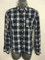 WOMENS TEENS HOLLISTER BLUE CHECK LONG SLEEVE FITTED BLOUSE SHIRT SIZE S SMALL