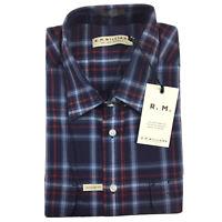 RM Williams Mens Jamestown Short Sleeve Shirt 2XL XXL Blue & Red Check Plaid