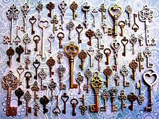 66 Antique Vtg Old Look Bronze Skeleton Keys Lot Pendant Heart Jewelry P24