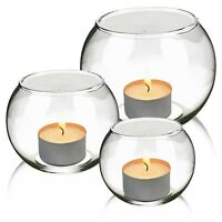 Set of 3 Round Glass Candle Holder Table Elegant Centrepiece Tea-Light Wedding