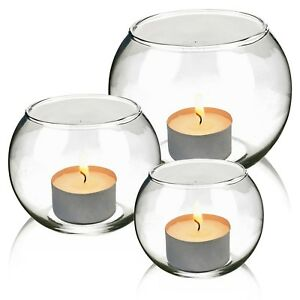 3 Round Glass Candle Holder Bowl Table Elegant Centrepiece Tea-Light Wedding