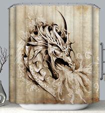 Dragon Fabric Shower Curtain 70x70 Asian Art Chinese Fire Breathing Tribal Head