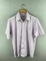 Pan America Men's Short Sleeve Shirt with Pocket - Size 40 Purple Check