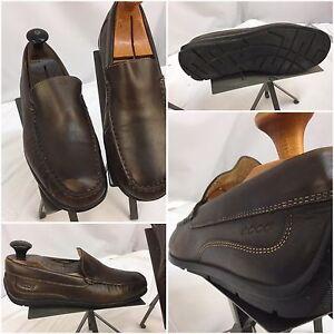Ecco Driving Moccasins Shoes Sz 7.5 EU 41 Brown Made In India EUC YGI D790