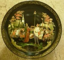 """Vinogradoff porcelaine russe Legends plaque 1.7 """"Le prêtre & son serviteur Balda"""""""