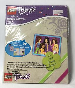 LEGO Friends 2 Pocket Folders & 2 Sticker Sheets School Girls Best Friends Pink