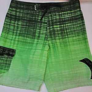 Hurley Board Shorts Swim Beach Trunks Green/Black  Men's Size 34