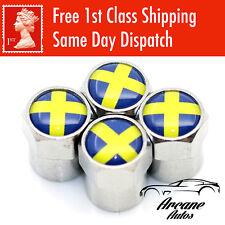 Bandera de Suecia Válvula Tapas Polvo cubre neumático de aleación de metal sueco Bicicleta Neumático De Coche