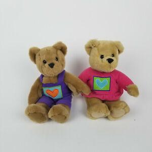 Hallmark Kissing Teddy Bears Plush Animals Love Kiss Pink Purple Magnetic Noses