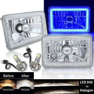 "4X6"" Blue SMD Halo Glass / Metal Headlight 6000K 6K LED Light Bulb Headlamp Pair"
