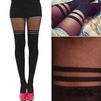 Sexy Women Black Mock Over Knee Tights Double Stripe Sheer Stockings Pantyhose..