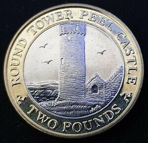 SCARCE IOM Manx £2 Round Tower of Peel Castle 2015 Slightly Circ