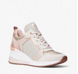 Michael Kors Crista Net Mesh Sneaker Shoes Rose Gold