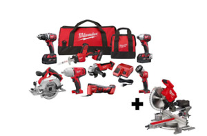Milwaukee Tool M18 Cordless Combo Kit (8-Tool) with FUEL 7-1/4 in. MITER SAW
