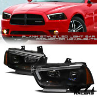 For 2011-2014 Dodge Charger Matte Blk DRL LED Strip Tube Bar Projector Headlight