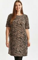 New Evans Animal Snake Print Black Brown Tunic Shift Day Dress Size 16-32