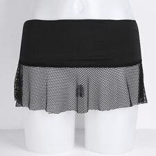 Women Fishnet Micro Mini Skirt Plaid Low Rise Dance Club Short Dress Costume