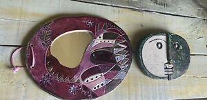 Ceramic Mirror Inside Outside Hanging Art / Plaque / Wall Art/ Face Art Fair