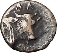 Larissa Phriconis in Aeolis 400BC Original Ancient Greek Coin Female Bull i47667