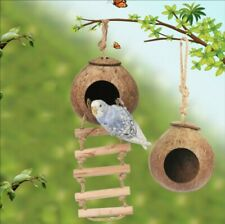 New listing Birds house Natural Coconut Shell Bird Nest House Hut Cage Feeder pet rat house
