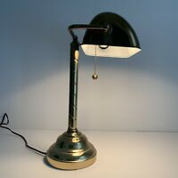 """Mid Century Brass Table Bankers Lamp 17"""".  Twisted Design"""